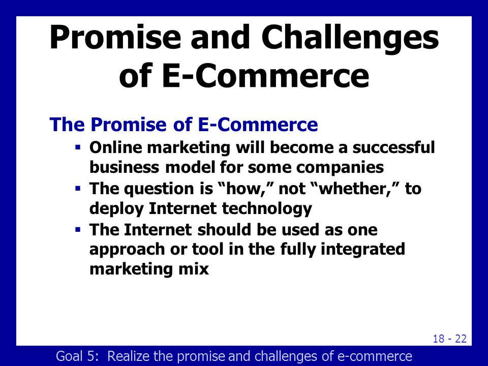 Promise and Challenges of E-Commerce