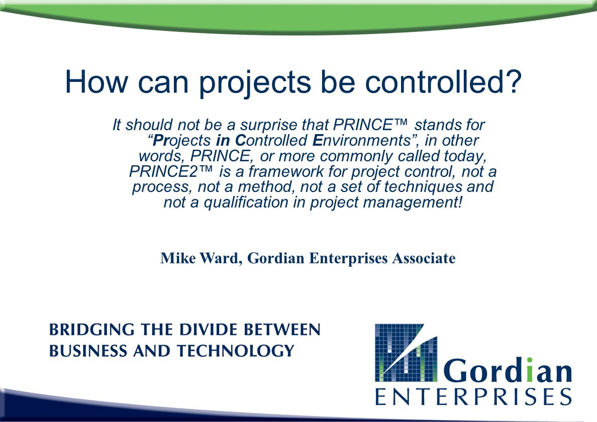 How can projects be controlled