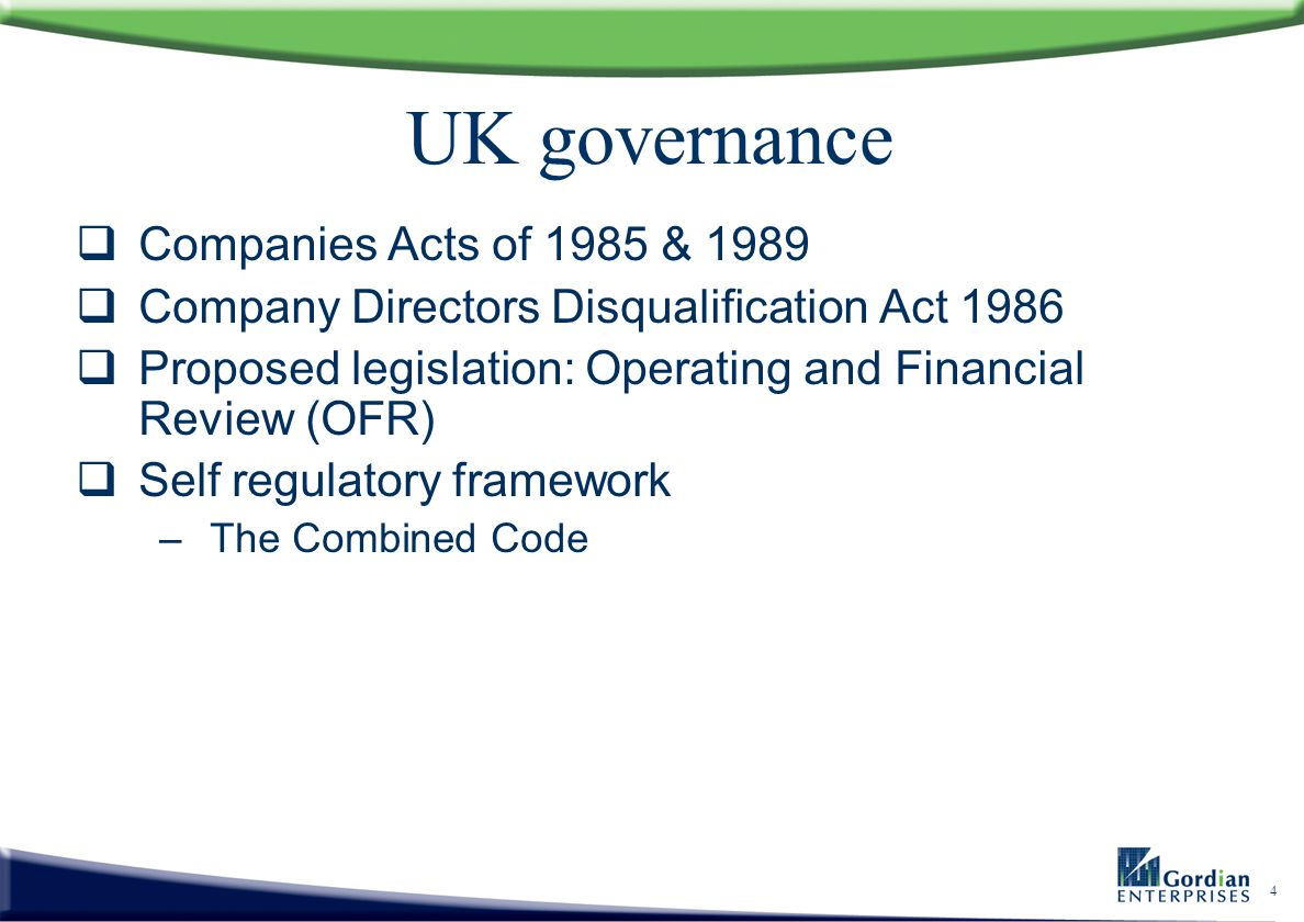 UK governance Companies Acts of 1985 & 1989