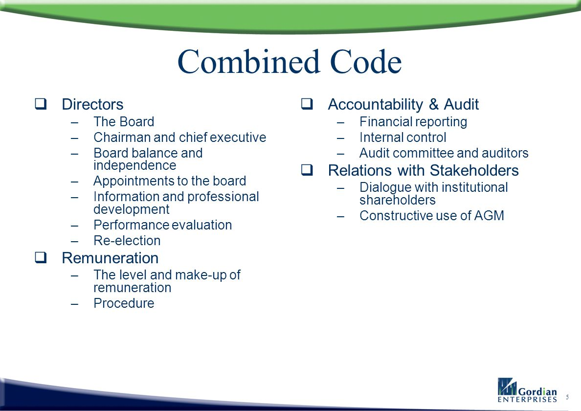 Combined Code Directors Remuneration Accountability & Audit
