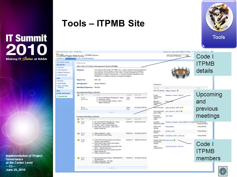 Tools – ITPMB Site Code I ITPMB details Upcoming and previous meetings