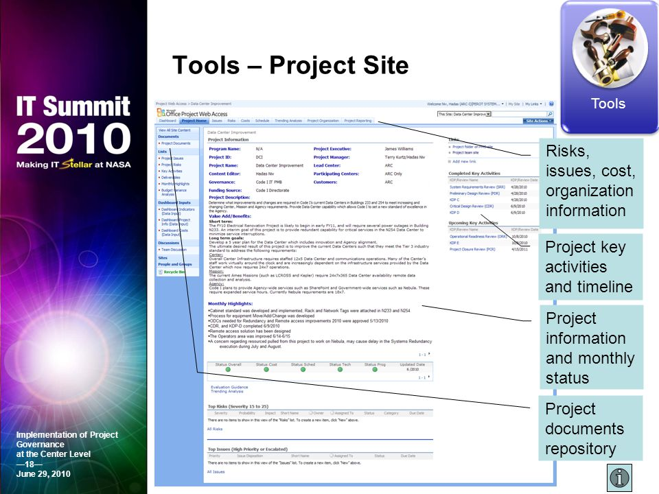 Tools – Project Site Risks, issues, cost, organization information