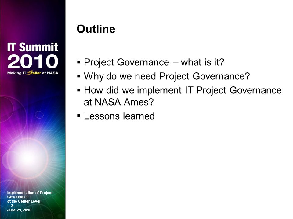 Outline Project Governance – what is it