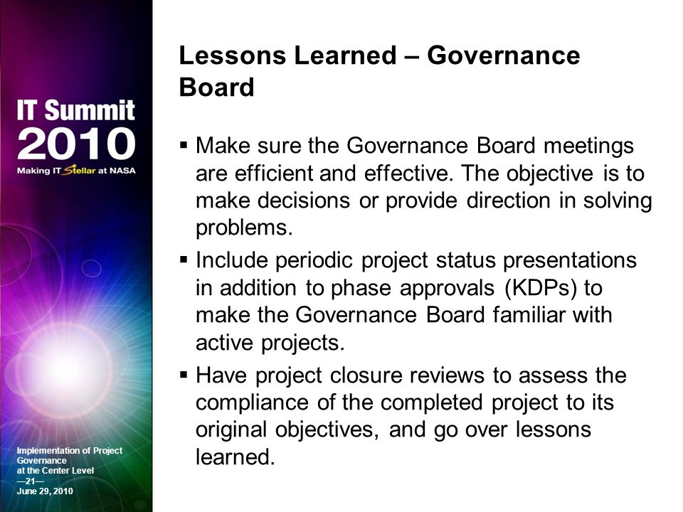 Lessons Learned – Governance Board