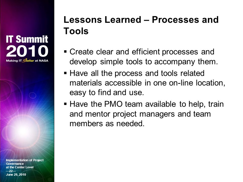 Lessons Learned – Processes and Tools