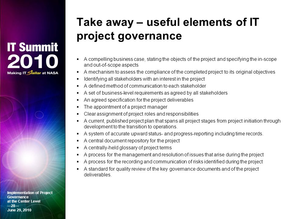 Take away – useful elements of IT project governance