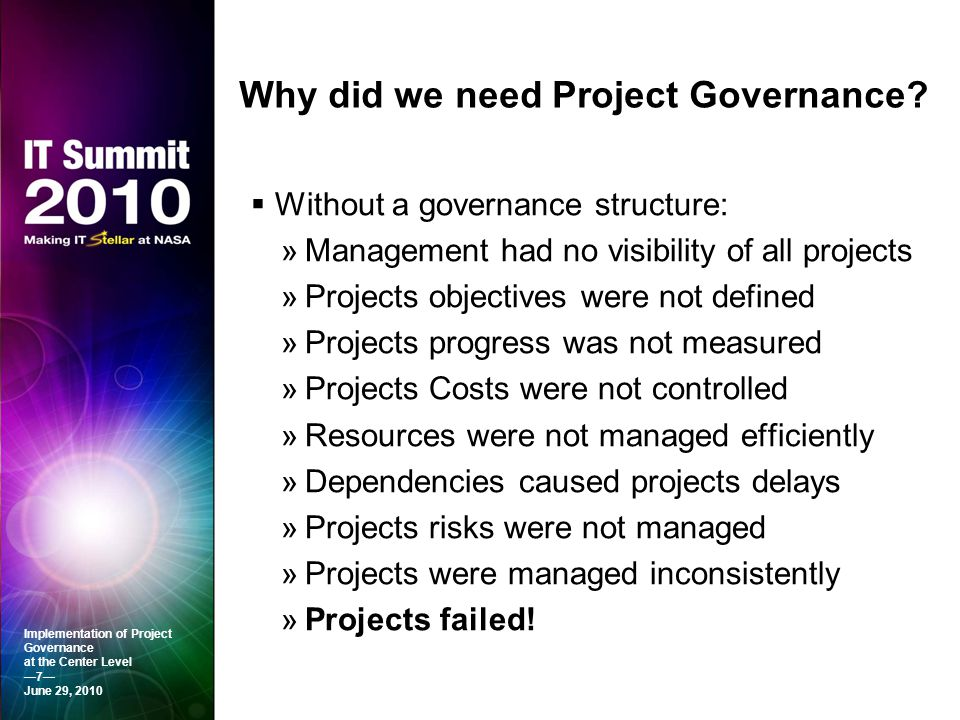 Why did we need Project Governance