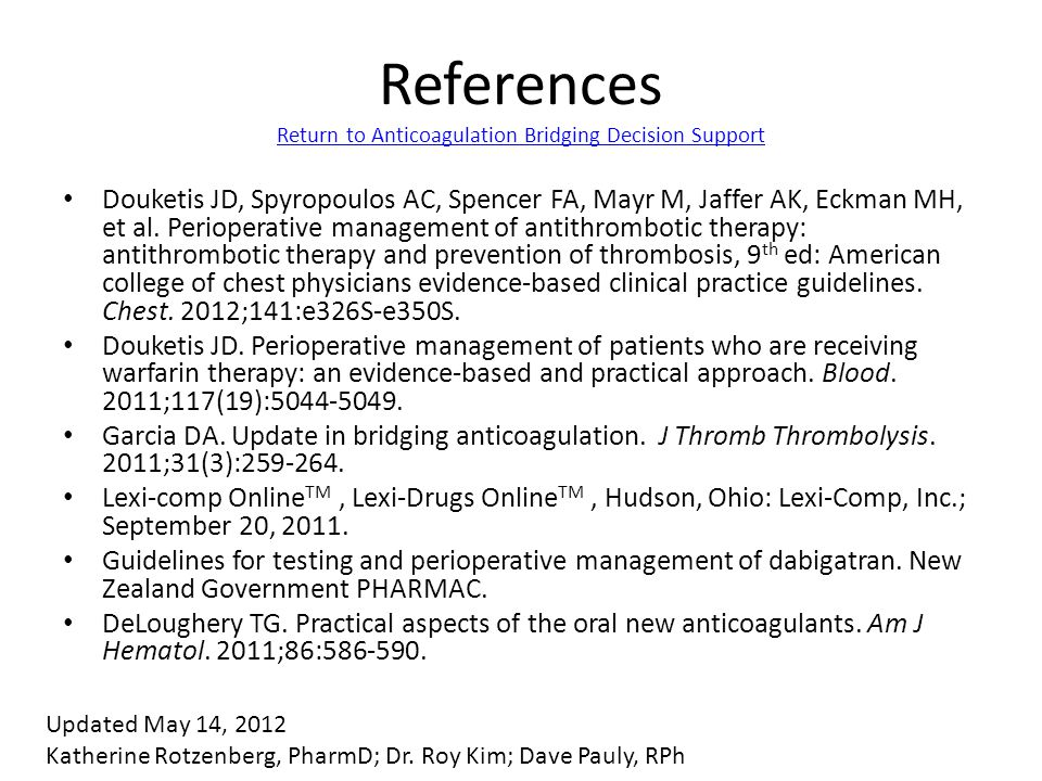 References Return to Anticoagulation Bridging Decision Support