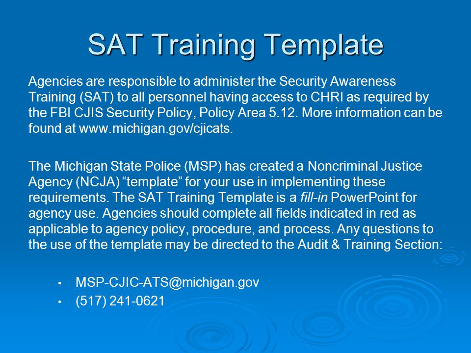 SAT Training Template Agencies are responsible to administer the ...