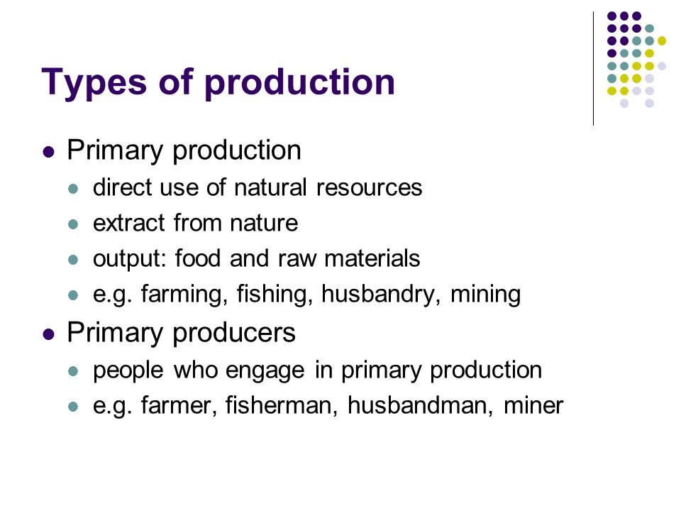 four types of production resources Agricultural production created land ownership and lots of resources in a limited space there are three types of agriculture: family farms, collectivized agriculture, and industrialized agriculture.