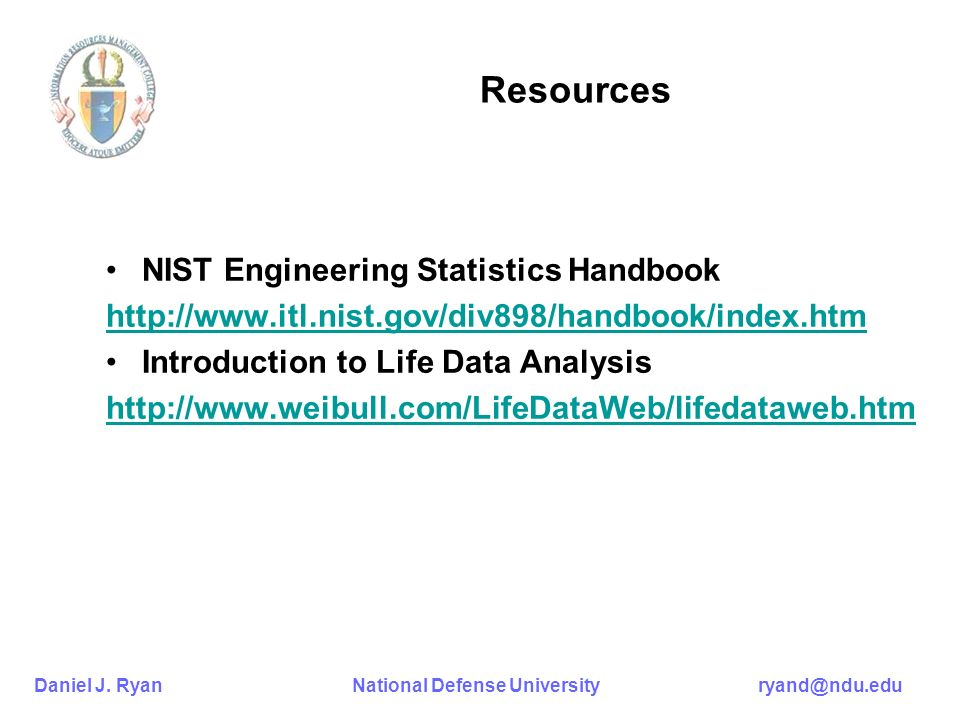 Resources NIST Engineering Statistics Handbook