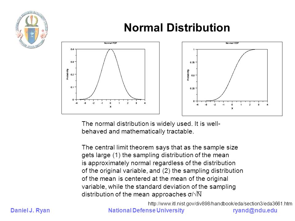 Normal Distribution The normal distribution is widely used. It is well- behaved and mathematically tractable.