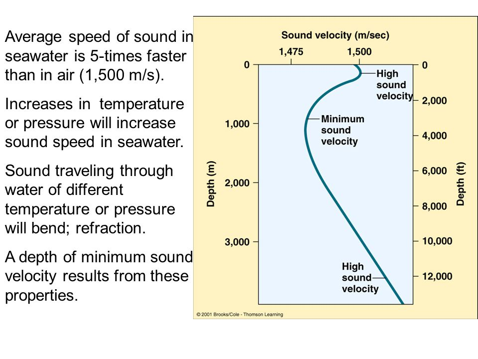 Average speed of sound in seawater is 5-times faster than in air (1,500 m/s).