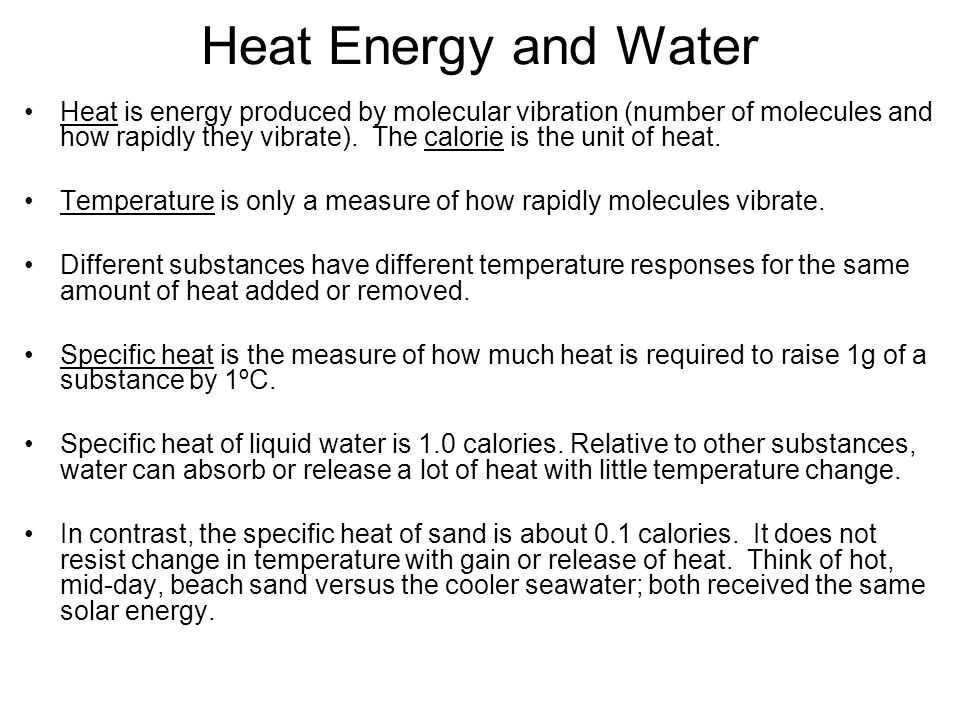 Heat Energy and Water