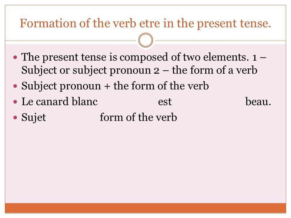 Le verbe être présent de l'indicatif The verb être present tense ...