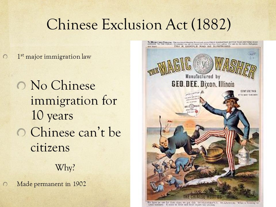 chinese exclusion acts In the spring of 1882, the chinese exclusion act was passed by congress and  signed by president chester a arthur this act provided an absolute 10-year.
