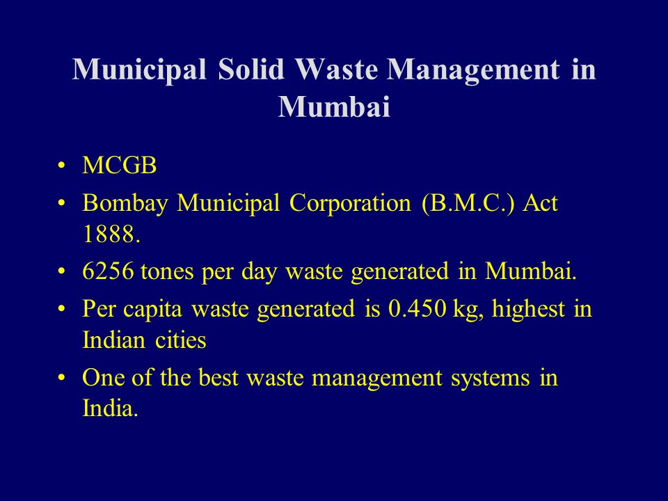 municipal solid waste management in indian