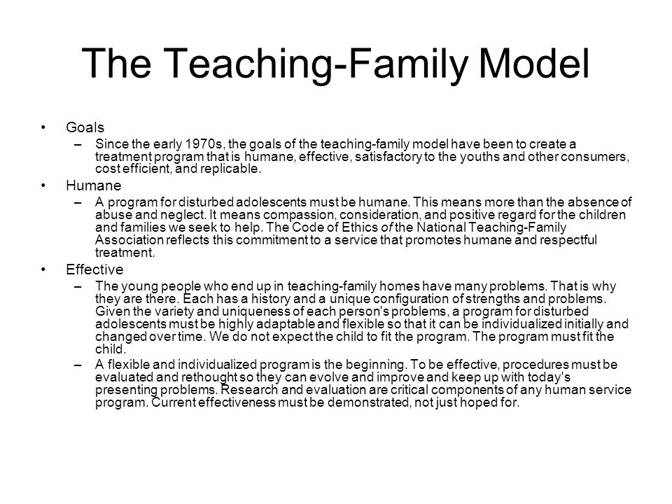 Teaching family model group homes