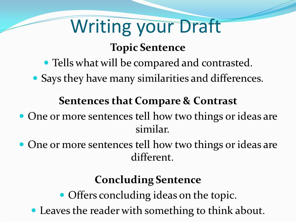 how to write a compare and contrast essay topic sentence