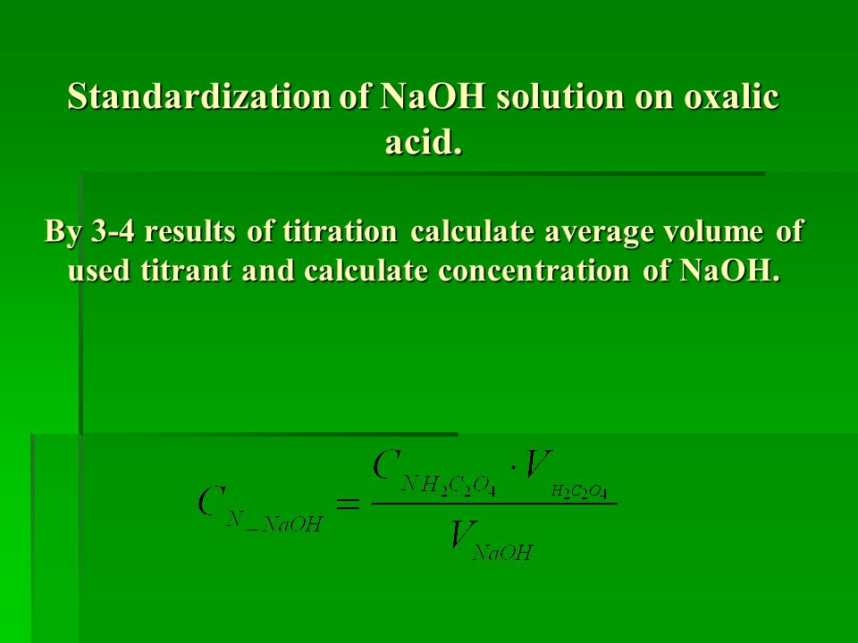 naoh standardization and titration of an Acid‐base titrations 1: standardization of naoh and titration of an  unknown weak acid you should review the section in your textbook that  describes.