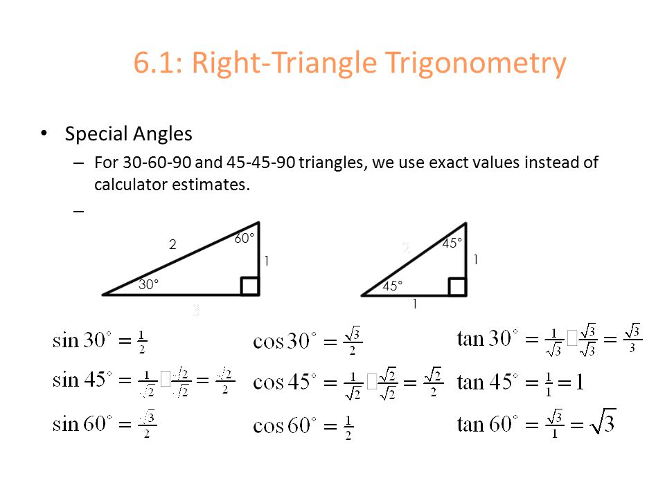 right triangle calculator We use some basic examples of the use of right triangle trigonometry in  we will be setting up the ratios and learning to use the calculator to.