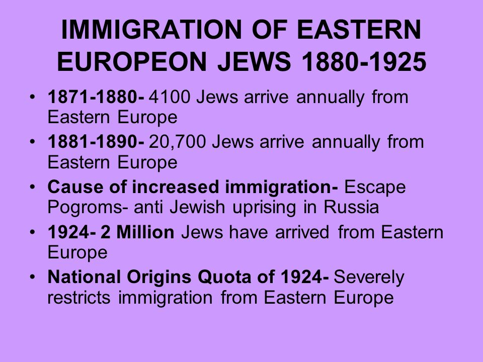 a history of jewish immigration in america Life in the united states was not always what jewish immigrants had imagined  before they emigrated from their native land many would soon find out that the.