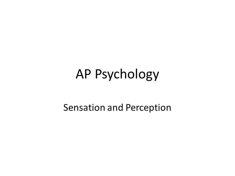 ap psychology sensation and perception essay The ap psychology exam will be given on the morning of may 14 below is an essay on ap psychology from anti essays   sensation and perception.