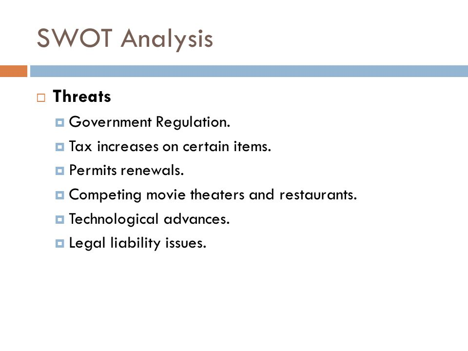 swot analysis of movie theaters The situation analysis page of the mplanscom regional theatre sample marketing  plan  swot analysis  also we must keep in mind, that there are other forms  of entertainment, such as movie theaters, video rentals, and the option of.