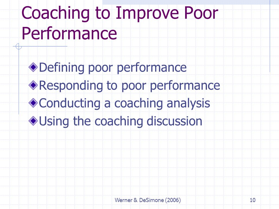 Coaching to Improve Poor Performance