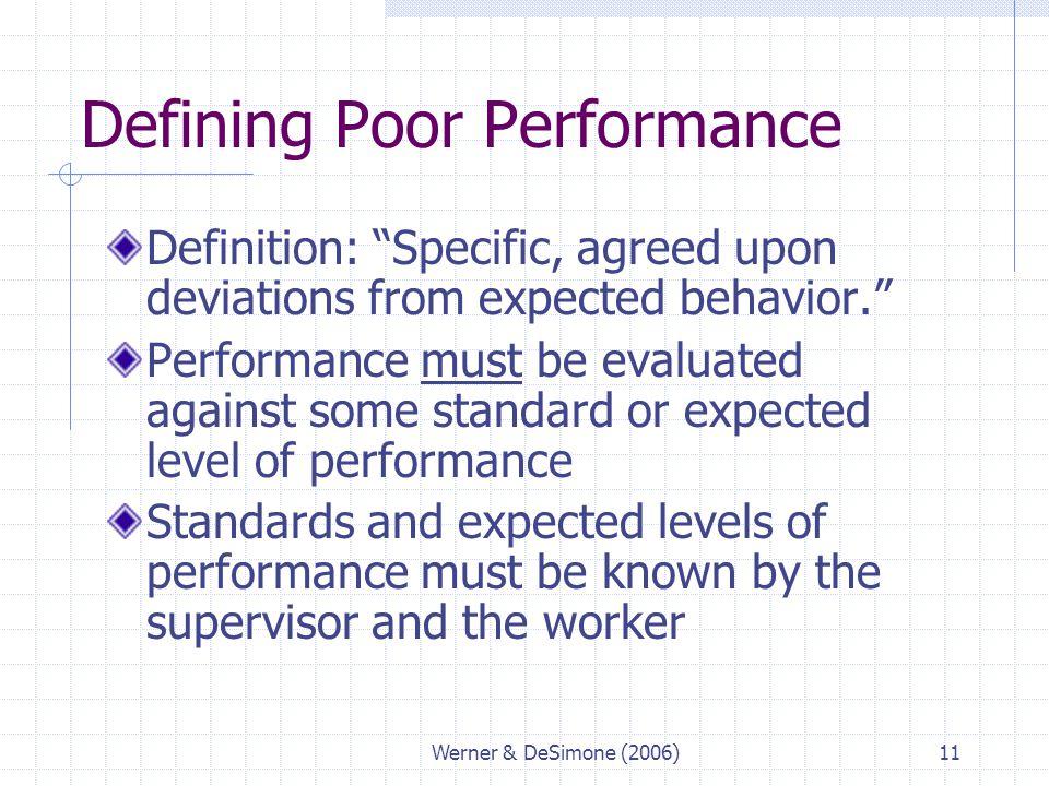 Defining Poor Performance