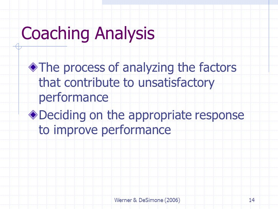 Coaching Analysis The process of analyzing the factors that contribute to unsatisfactory performance.
