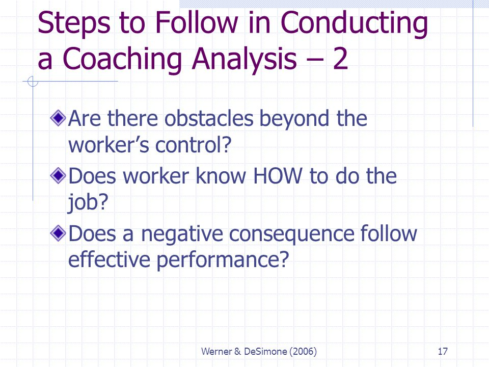 Steps to Follow in Conducting a Coaching Analysis – 2