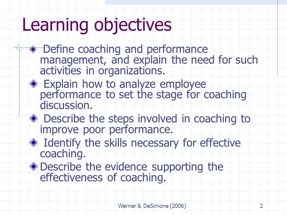 Learning objectives Define coaching and performance management, and explain the need for such activities in organizations.
