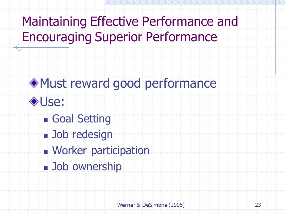Maintaining Effective Performance and Encouraging Superior Performance