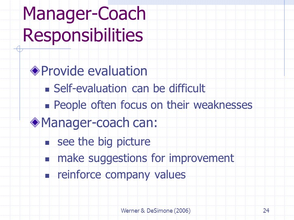 Manager-Coach Responsibilities