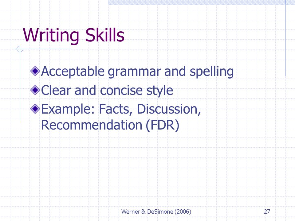 Writing Skills Acceptable grammar and spelling Clear and concise style