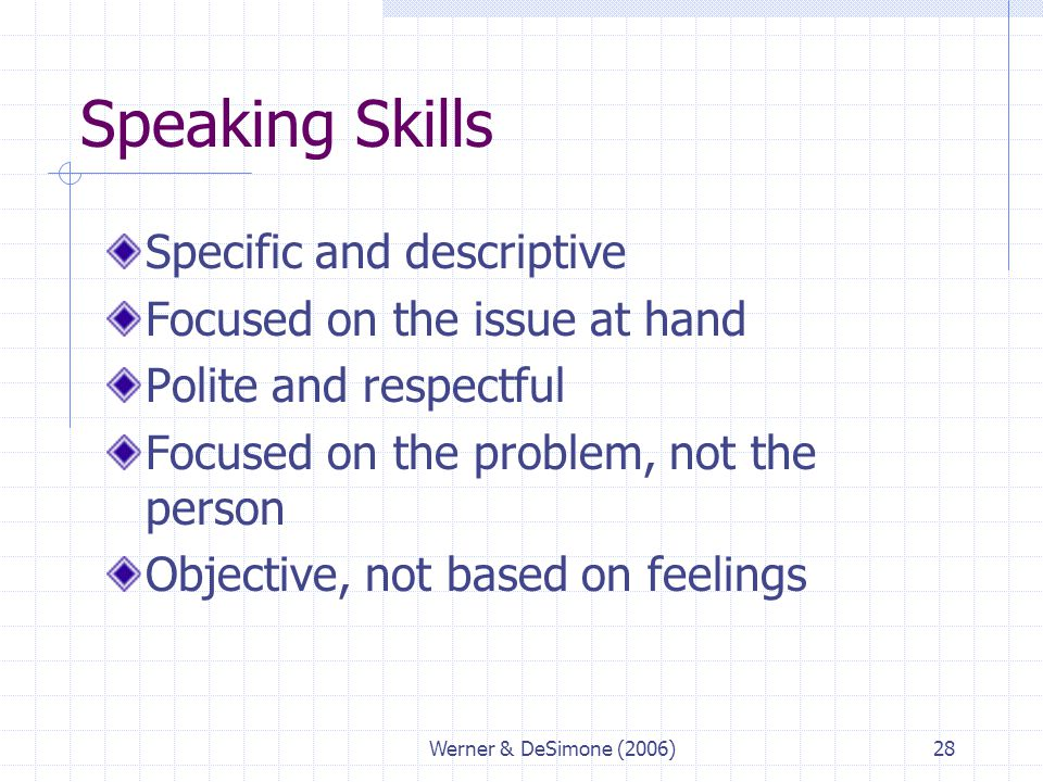 Speaking Skills Specific and descriptive Focused on the issue at hand
