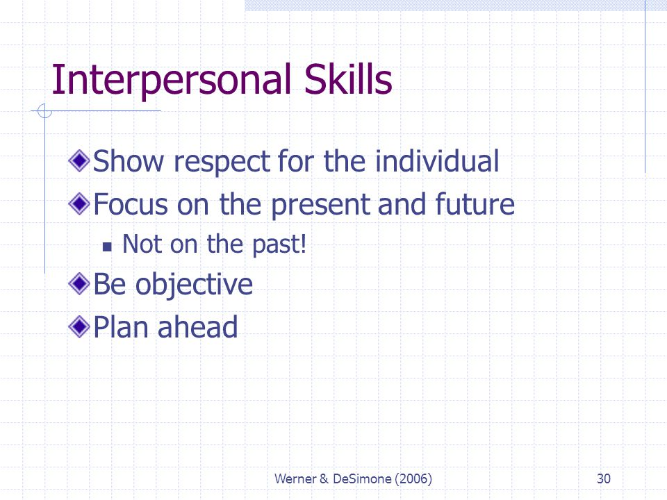 Interpersonal Skills Show respect for the individual