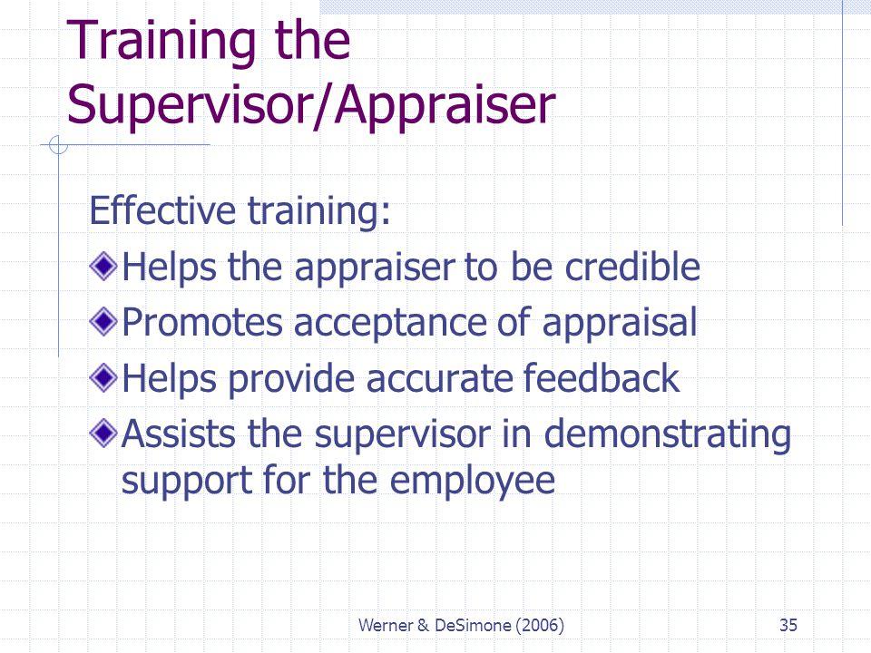 Training the Supervisor/Appraiser