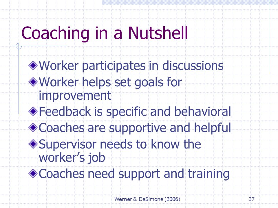 Coaching in a Nutshell Worker participates in discussions