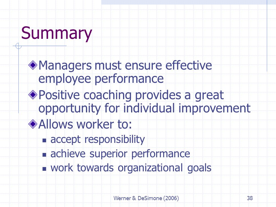 Summary Managers must ensure effective employee performance