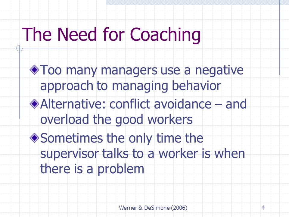 The Need for Coaching Too many managers use a negative approach to managing behavior.