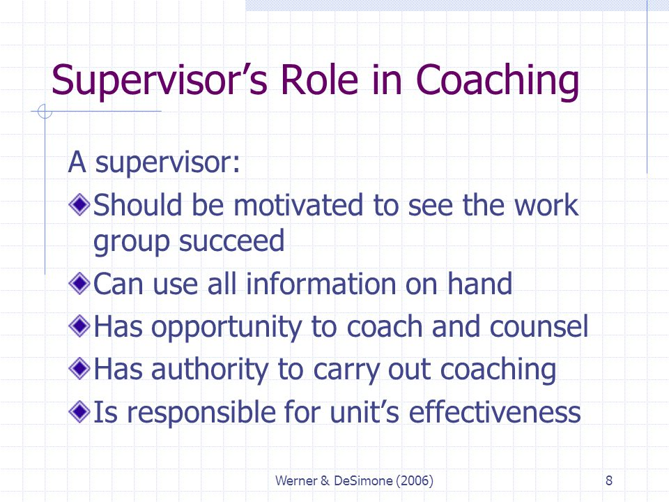 Supervisor's Role in Coaching