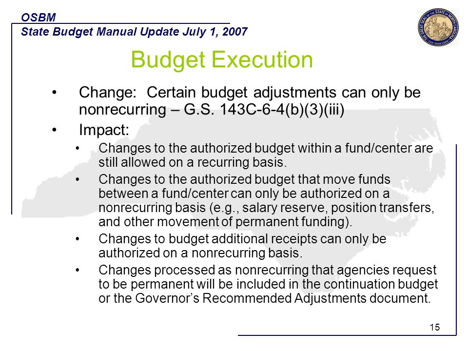 OSBM State Budget Manual Update July 1, 2007. Budget Execution.