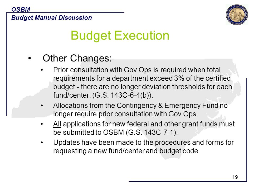 Budget Execution Other Changes: