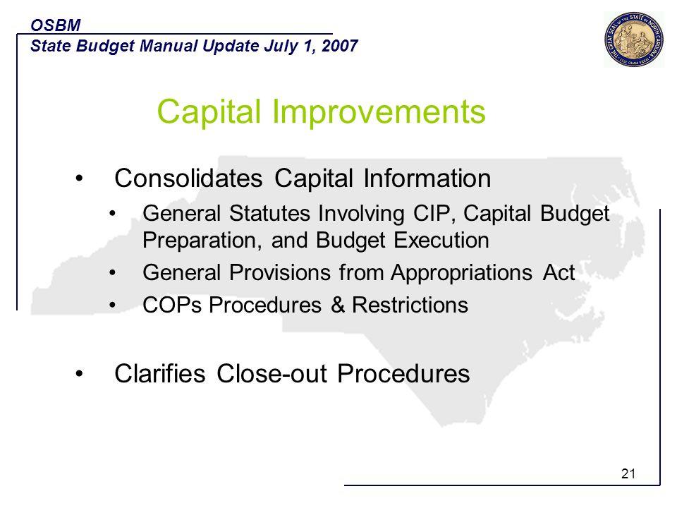 Capital Improvements Consolidates Capital Information
