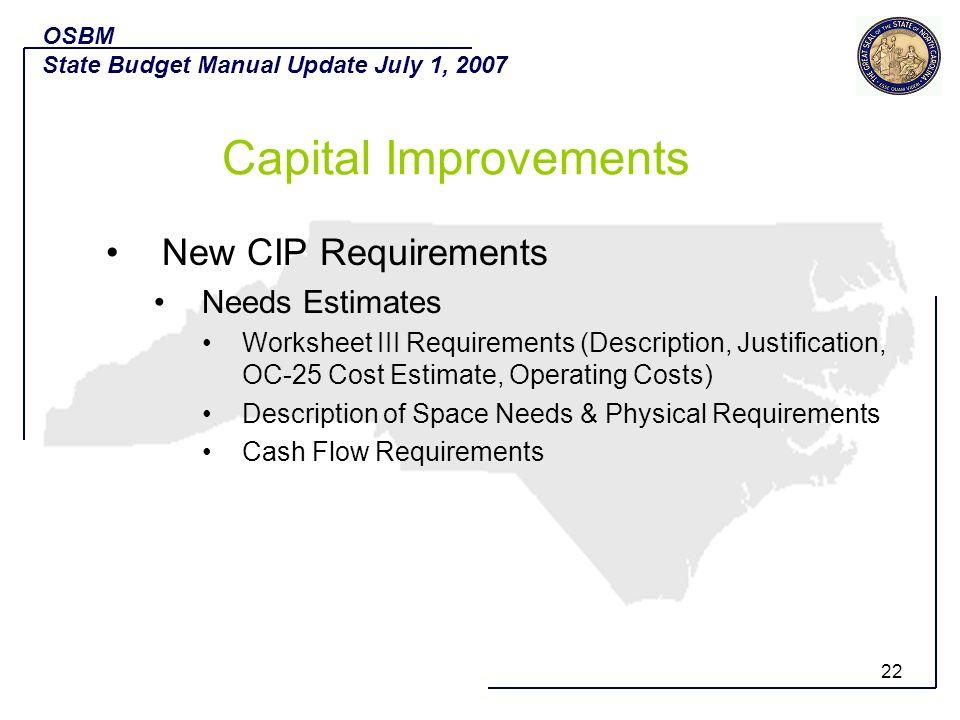 Capital Improvements New CIP Requirements Needs Estimates