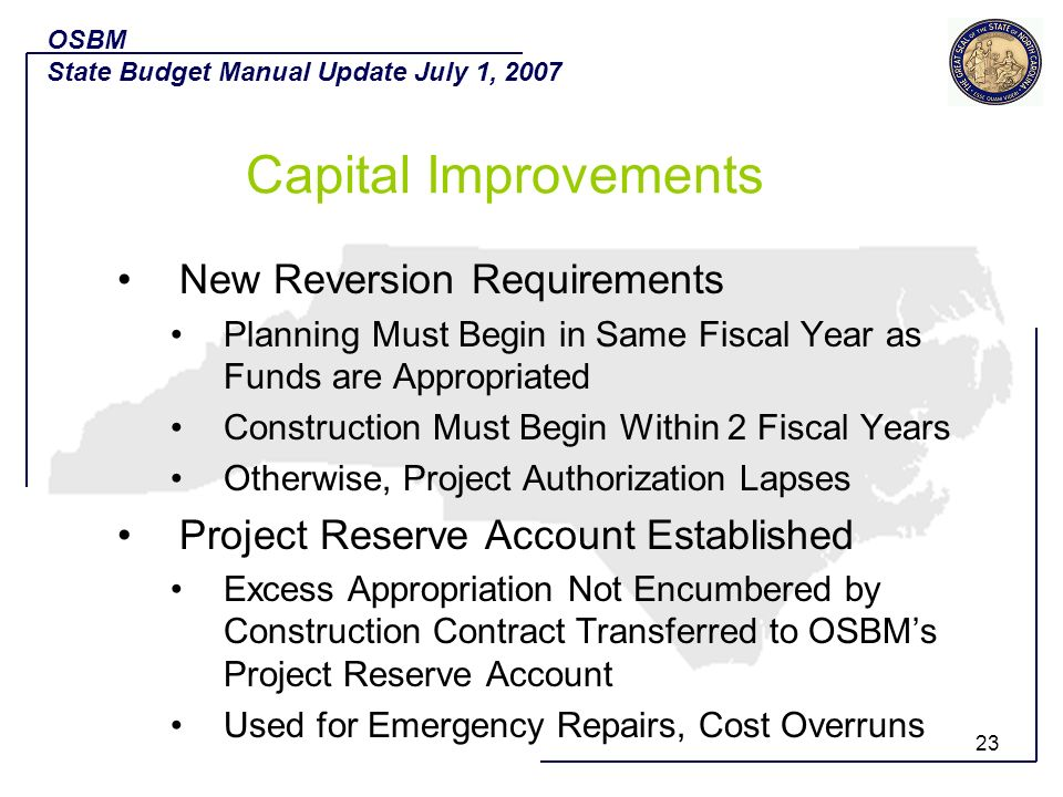Capital Improvements New Reversion Requirements