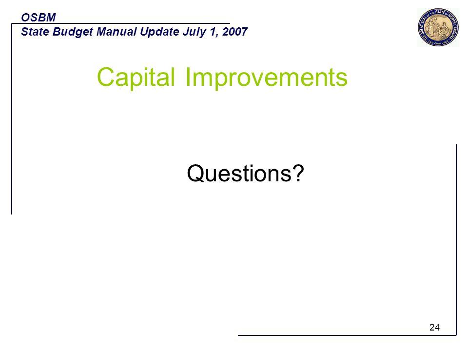 Capital Improvements Questions OSBM