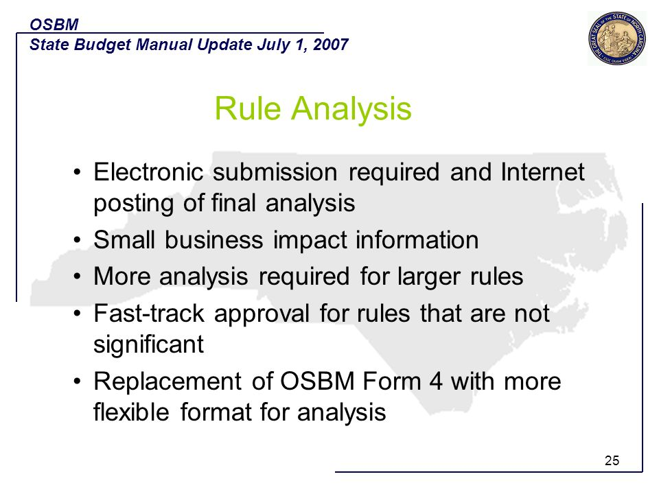 OSBM State Budget Manual Update July 1, 2007. Rule Analysis. Electronic submission required and Internet posting of final analysis.